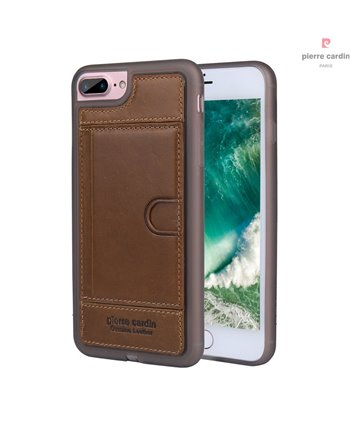 Pierre Cardin silicone backcover voor iPhone 7/8 Plus - Bruin